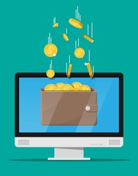 Concept of online income. Earnings in internet network. Electronic wallet. Freelance work. Golden coins flying in wallet on computer monitor. Growth, income, success. Flat style vector illustration