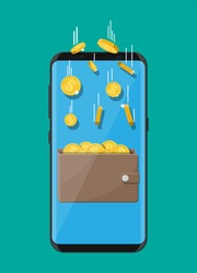 Concept of online income. Earnings in internet network. Electronic wallet. Freelance work. Golden coins flying in wallet on smartphone screen. Growth, income, success. Flat style vector illustration