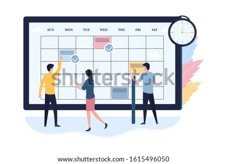 Concept of online schedule planning. Scheduling work for the week, time management, business meetings, calendar. Flat vector illustration on white background. Web banner, infographic, template.