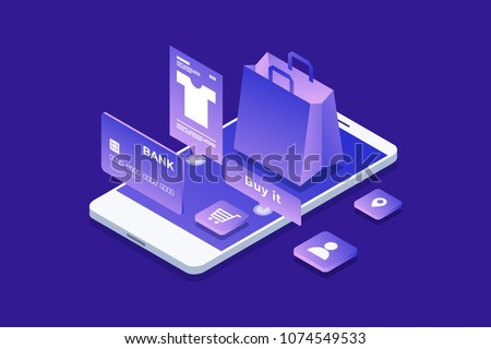 Concept of online shop, internet shopping. Isometric image of phone, bank card and shopping bag on blue background. 3D design. Vector illustration.