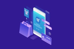 Concept of online shop, online shopping. Isometric image of phone, Bank card and shopping bag on blue background. 3d flat design. Vector illustration.