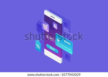 Concept of online shop, online shopping. Online payment for goods. Isometric image of smartphone, bank card and tag on blue background. 3d flat design. Vector illustration.