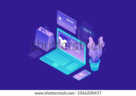 Concept of online shop, online store. Transfer money from card. Isometric image of laptop, Bank card and shopping bag on blue background. 3d flat design. Vector illustration.