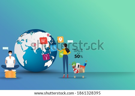 Concept of online shopping, young woman is standing near supermarket basket and touching on icon of browser to search for a goods together with a man who sit on top of coin stack.