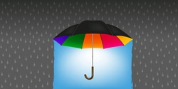 Concept of optimism and the solution to see the end of the tunnel, with a multicolored umbrella that turns rain into good weather.