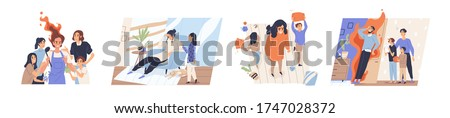 Concept of parental burnout. Collection of scenes with exhausted, tired, unhappy parents and children seeking attention. Family communication problems. Vector illustration in flat cartoon style.