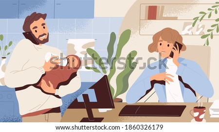 Concept of paternity leave instead of maternity one. Young man on call with wife working at office. Happy dad holding and feeding newborn baby or infant at home. Flat textured vector illustration
