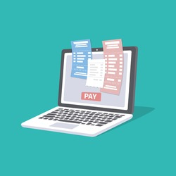 Concept of pay bills tax accounts online via computer or laptop. Online payment service. Laptop with checks and invoices on the screen. Pay button. Vector illustration isolated.