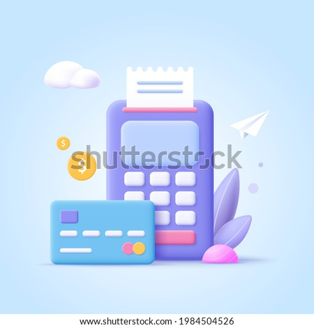 Concept of payment processing. Financial transactions, bank card, terminal for buying process, monetary currencies. 3d vector illustration.