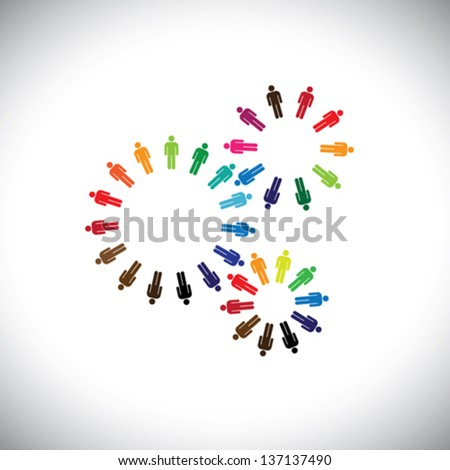 Concept of people as cogwheels representing communities & teams. This colorful vector logo template can represent teams interacting and collaborating with each other & also global social communities