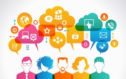 concept of people communicate in a global network. Icons of people with speech bubbles, clouds and Interface icons