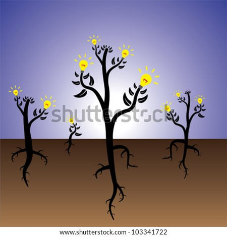 Concept of plants of ideas and solution growing in fertile mind.