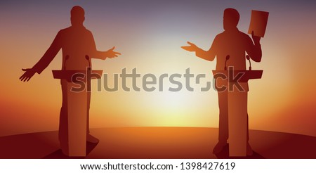 Concept of political debate, with two candidates behind their desks, who are fighting for leadership and conquering power, calling on voters to vote for them. Stock photo ©
