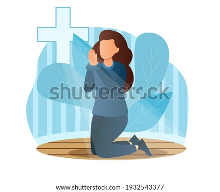 Concept of prayer, blessing, religion, faith. Religious young female character is standing on knees and praying in church in front of cross. Faith in God. Flat cartoon vector illustration