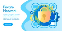 Concept of private network, vector illustration in flat design.