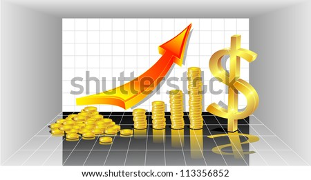 Concept of profit   with Gold Coins, red arrow and with symbol Gold dollar