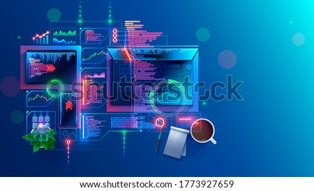 Concept of programming, coding computer software. Program development  technology. Learning create web applications of mobile devices. Code smartphone app or tablet. Top view on desk of programmer.