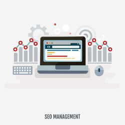 Concept of programming process, Seo management and website search optimization. Flat design. Vector Illustration.