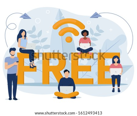 Concept of public free wireless connection wireless point Wi-Fi. Vector illustration in flat style