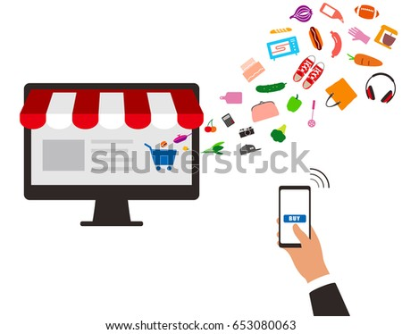 concept of purchasing product at internet, mobile shopping. Buy Online, vector illustration