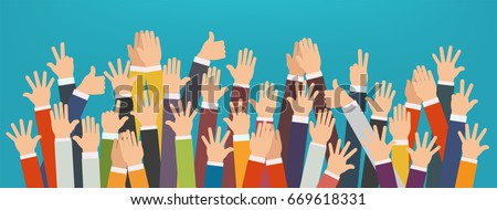 Concept of raised up hands. Concept of education, business train