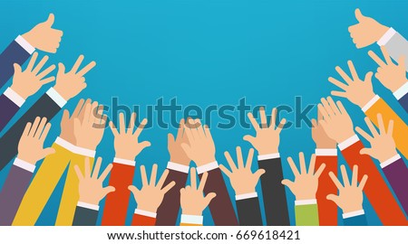 Concept of raised up hands. Party, concept of education, busines