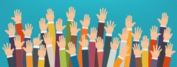 Concept of raised up hands. Volunteering charity, party, concept