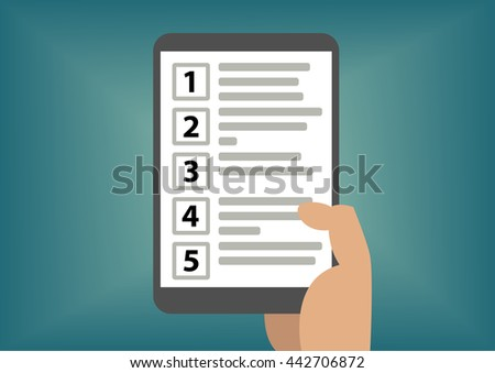 Concept of ranking of prioritization with hand holding tablet as vector illustration