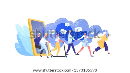 Concept of referral marketing, Refer A Friend loyalty program, promotion method. Group of people or customers holding hands and walking out of giant smartphone. Modern flat vector illustration.  #1373185598