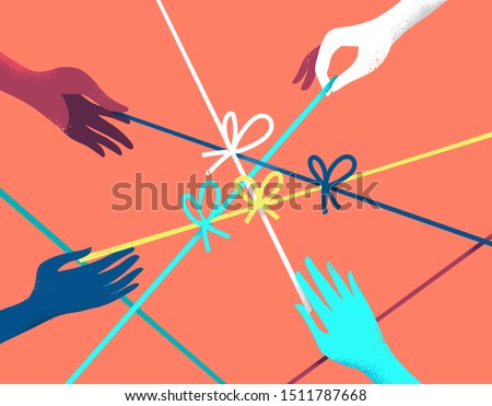 Concept of risolving problems easily. Human hands pulling on strings to untie simple knots. Vector illustration