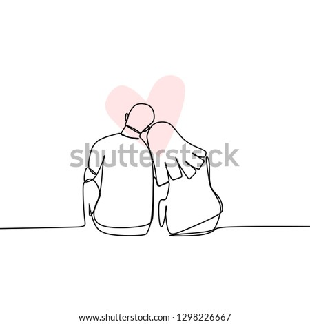 Concept of romantic couple in love continuous line drawing vector illustration
