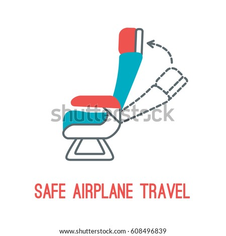 Concept of rules of airplane safety for banner design. Vector thin line icon of chair for safe travel isolated on white. Safe plane flight.