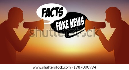 Concept of rumors on social networks in the face of proven facts, with two men face to face who oppose on the theme of fake-news. Photo stock ©