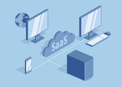 Concept of SaaS, software as a service. Cloud software on computers, mobile devices, codes, app server and database. Vector isometric illustration, isolated on blue background.