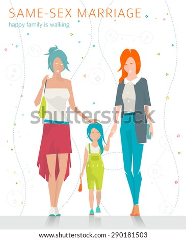 Concept of same-sex marriage. Happy family is going for a walk. Two  mothers and daughter. Flat vector illustration. #290181503