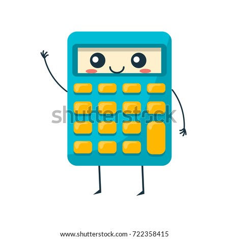 Concept of school funny office supplies. Happy calculator with face. Cartoon happy school character funny modern electronic calculator, waving his arms, smiling. Modern education. Vector illustration.