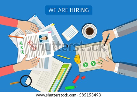 Concept of searching professional staff, analyzing personnel resume, recruitment, human resources management, work of hr. Flat design, vector illustration