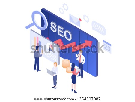 concept of Seo analytics team for website and mobile website. Landing page template. Vector illustration Modern flat design isometric concept of Data Analysis for website and mobile website.