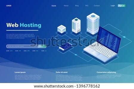 Concept of server hosting. Big data flow processing concept, cloud database. Hosting server isometric vector illustration. Isometric design concept of landing page suggesting  servers and hosting.