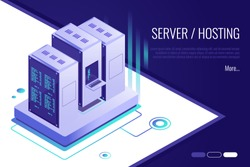 Concept of server hosting.Data transmission technology and data protection. Illustration of network telecommunication server.3d isometric style