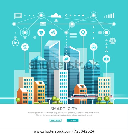 Concept of smart city with different icons and elements. Future technology for living. Urban landscape with buildings and skyscrapers. Vector illustration.