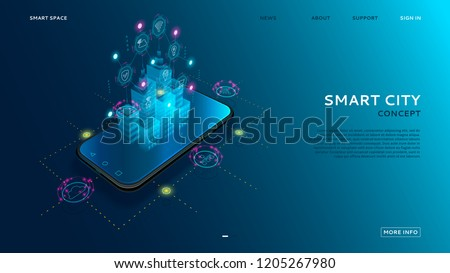 Concept of smart city with IoT. Digital hologram of smart city on the screen of smartphone with Internet of things. Vector illustration with wireless connections of information technology icons.