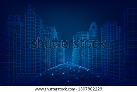concept of smart or digital city, wireframe cityscape in futuristic style
