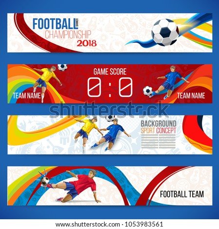 Concept of soccer player with colored geometric shapes assembled in figure football  Background of different color bands intertwined. champion football game. 2018 Table Matches. Isolate vector. Banner