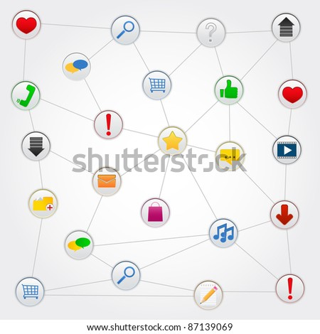 Concept of social network with icons, vector illustration