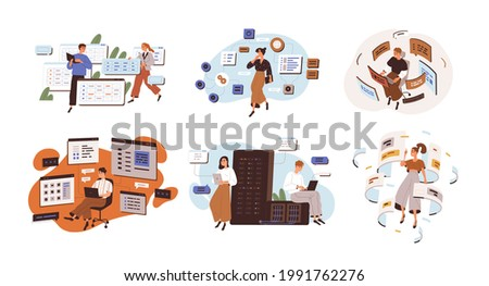 Concept of software development and web programming. Set of people coding and working with CMS architecture. Flat graphic vector illustration of backend engineers isolated on white background