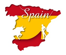 Concept of Spain in paper art style