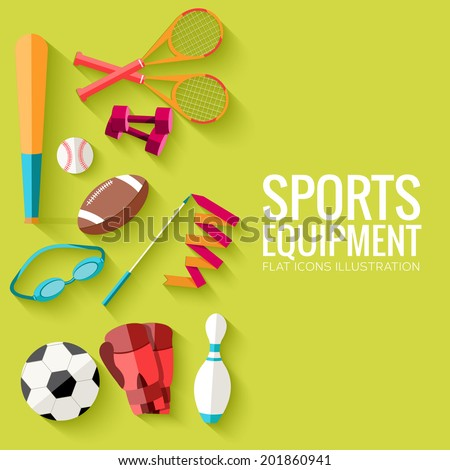 Concept of sports equipment flat icons background. vector illustration design