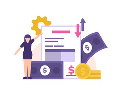 concept of staff accounts receivable and accounts payable, accounting or financial management. illustrations of women, paper reports, gear, banknotes and coins. transaction. flat style. design element