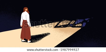 Concept of stepping into unknown future. Person standing on light path, facing darkness. Woman before going toward fear, dark, scary and strange challenging way. Colored flat vector illustration Foto stock ©